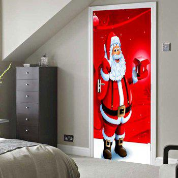 Christmas Santa with Gift Pattern Door Stickers - RED 38.5*200CM*2PCS