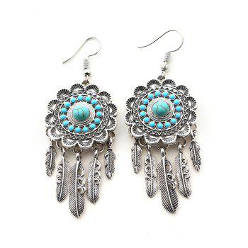 Bohemian Faux Turquoise Blossom Feather Earrings - SILVER SILVER