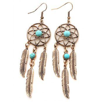 Faux Turquoise Dream Catcher Feather Earrings - GOLDEN GOLDEN