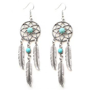 Faux Turquoise Dream Catcher Feather Earrings - SILVER SILVER