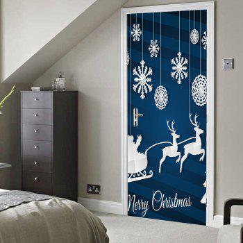 Christmas Deer Snowflake Pattern Door Stickers - BLUE BLUE