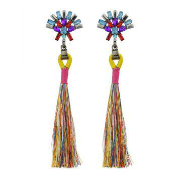 Artificial Crystal Geometric Tassel Drop Earrings - COLORMIX COLORMIX