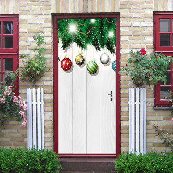 Christmas Baubles Woodgrain Pattern Door Stickers - WHITE WHITE