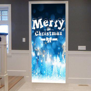 Merry Christmas Greeting Pattern Door Stickers - BLUE BLUE