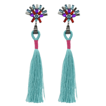Artificial Crystal Geometric Tassel Drop Earrings -  GREEN
