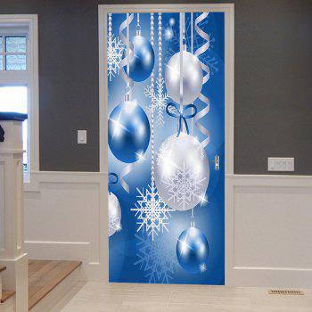 Christmas Baubles Snowflakes Pattern Door Stickers - BLUE BLUE