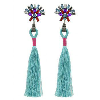 Artificial Crystal Geometric Tassel Drop Earrings - GREEN GREEN