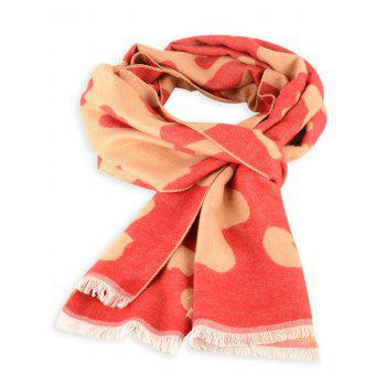 Fringed Edge Cow Skin Winter Scarf - RED RED