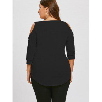 Plus Size Cutout Asymmetric Cold Shoulder Tunic Top - BLACK 3XL