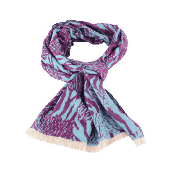 Fringed Zebra Stripe Winter Scarf - PURPLE