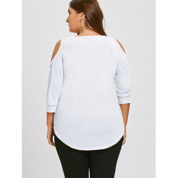 Plus Size Cutout Asymmetric Cold Shoulder Tunic Top - WHITE 5XL
