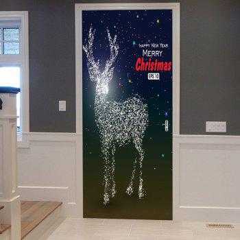 Sparkly Christmas Deer Pattern Door Stickers - COLORMIX COLORMIX