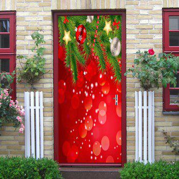 Christmas Baubles Stars Pattern Door Stickers - RED RED
