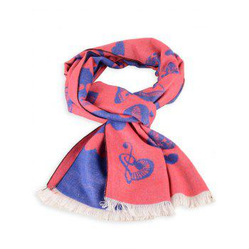 Letter Heart Pattern Fringed Edge Winter Scarf - PEARL ROYAL BLUE PEARL ROYAL BLUE