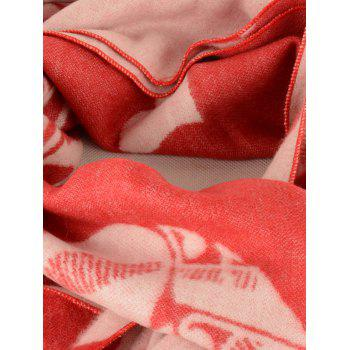 Letter Heart Pattern Fringed Edge Winter Scarf - BRIGHT RED