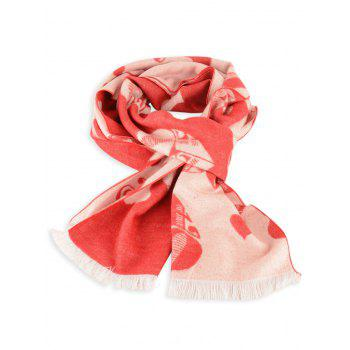 Letter Heart Pattern Fringed Edge Winter Scarf - BRIGHT RED BRIGHT RED