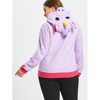 Fleece Plus Size Unicorn Zipper Hoodie with Pocket - PURPLE 3XL