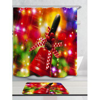 Christmas Handbell Pattern Waterproof Shower Curtain - COLORFUL W59 INCH * L71 INCH