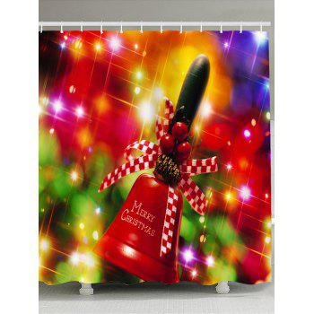 Christmas Handbell Pattern Waterproof Shower Curtain - COLORFUL COLORFUL