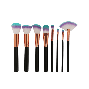 8 Pieces Three Tones Bristles Makeup Brush Set - BLACK
