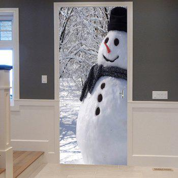 Christmas Forest Snowman Pattern Door Stickers - WHITE WHITE
