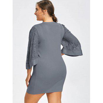 Plus Size Lace Sleeve Knitted Cutout Choker Dress - GRAY GRAY