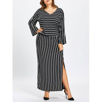 Striped T-shirt and Pencil Skirt Twinset - BLACK BLACK