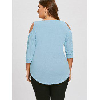 Plus Size Cutout Asymmetric Cold Shoulder Tunic Top - LIGHT BLUE LIGHT BLUE