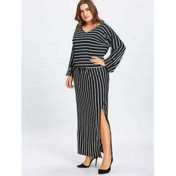 Striped T-shirt and Pencil Skirt Twinset - BLACK 7XL