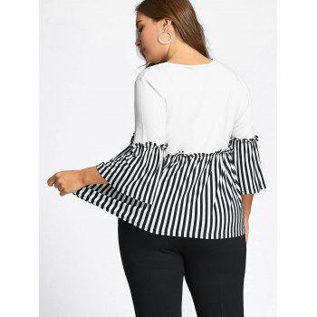 Flounce Plus Size Stripd Panel Smock Top - WHITE 4XL