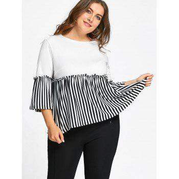 Flounce Plus Size Stripd Panel Smock Top - WHITE WHITE