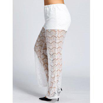 See Through Plus Size Lace Pants - WHITE 6XL