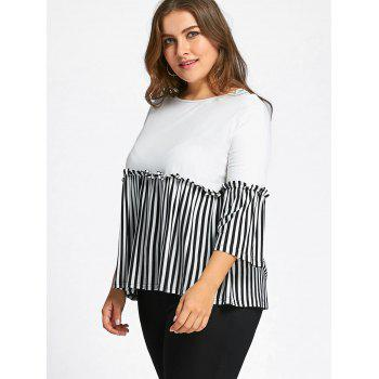 Flounce Plus Size Stripd Panel Smock Top - WHITE 7XL