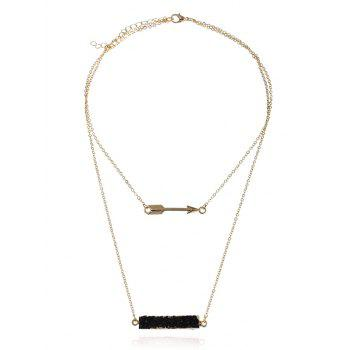 Natural Stone Arrow Layered Pendant Necklace - BLACK BLACK