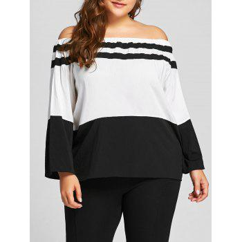 Plus Size Color Block Off The Shoulder Tee - WHITE WHITE