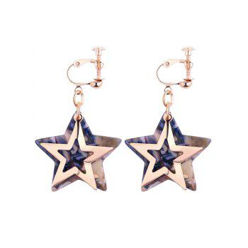 Alloy Resin Star Drop Earrings - BLUE BLUE