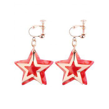 Alloy Resin Star Drop Earrings - RED RED