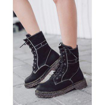 Round Toe Lace Up Ankle Boots - BLACK 39