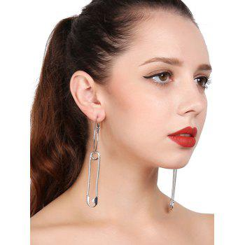 Alloy Circle Pin Hoop Drop Earrings - SILVER SILVER