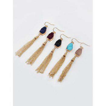 Natural Stone Fringed Chain Hook Earrings - DARK RED