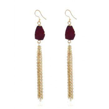 Natural Stone Fringed Chain Hook Earrings - DARK RED DARK RED
