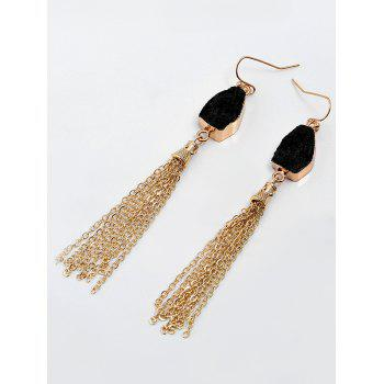 Natural Stone Fringed Chain Hook Earrings -  BLACK