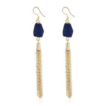 Natural Stone Fringed Chain Hook Earrings - INK BLUE INK BLUE