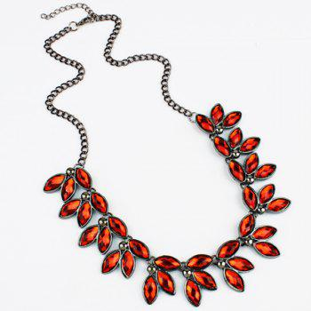 Faux Jewelry Leaves Necklace - RED RED