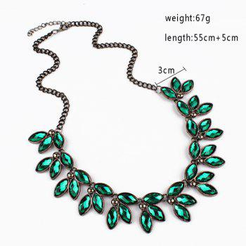 Faux Jewelry Leaves Necklace -  GREEN