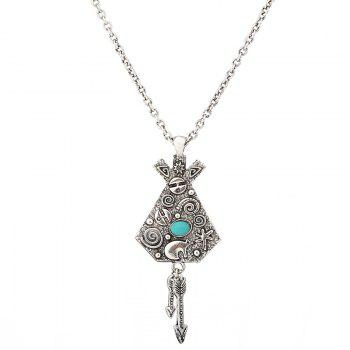 Artificial Turquoise Engraved Indian Arrow Sweater Chain - SILVER SILVER