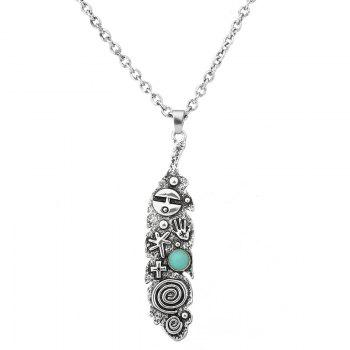 Faux Turquoise Engraved Cross Sweater Chain - SILVER SILVER