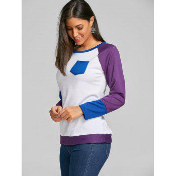 Raglan Long Sleeve Color Block Top - PURPLE PURPLE