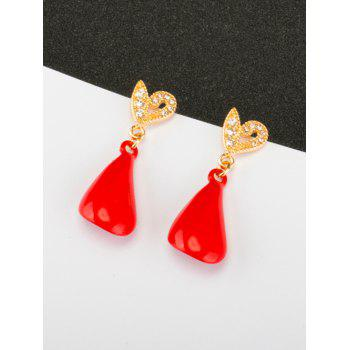 Rhinestone Heart Petal Earrings -  RED
