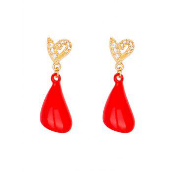 Rhinestone Heart Petal Earrings - RED RED